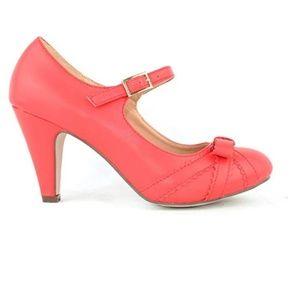 🛍 Women's Vegan Leather Bow Retro Pump Heel Red